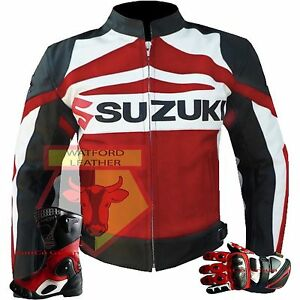 SUZUKI-GSXR-RED-MOTORBIKE-MOTORCYCLE-COWHIDE-LEATHER-JACKET-GLOVES-AND-BOOTS