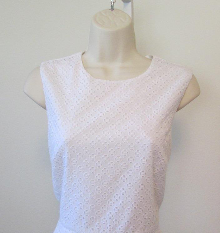 Diane von Furstenberg Jeannie white eyelet shift dress 10 10 10 new DVF sleeveless 8f61b5
