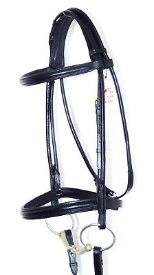 FSS German BLACK WHITE Padded ROLLED  Comfort Crank Double Dressage Bridle Reins
