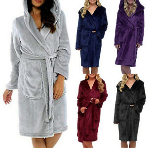 Womens-Sleepwear-Hooded-Robe-Bathrobe-Fluffy-Long-Sleeve-Waist-Belt-Bath-Pajamas