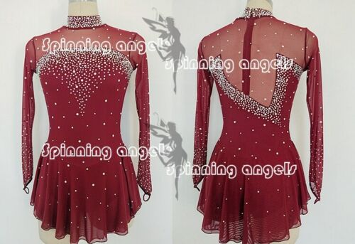 Figure Skating Dress Women/'s Girls/' Ice Skating Dress Spandex burgundy handmade