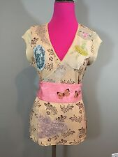 RARE FREE PEOPLE APPLIQUE W/PINK OBI BELT RAW HEM CAP SLEEVE COTTON SHIRT TOP-M