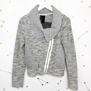 Anthropologie-Moto-Jacket-Size-Small-S-Gray-Quilted-Tweed-Asymmetrical-Zip-Dolan