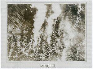 Gr-Orig-Pressephoto-1-Weltkrieg-Fliegeraufnahme-brennendes-Tarnopol-um-1917