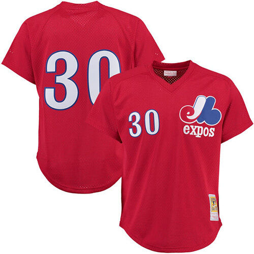 Mitchell & Ness MLB Montreal Expos 1989 Tim Raines Rojo Bateo Practice Jersey