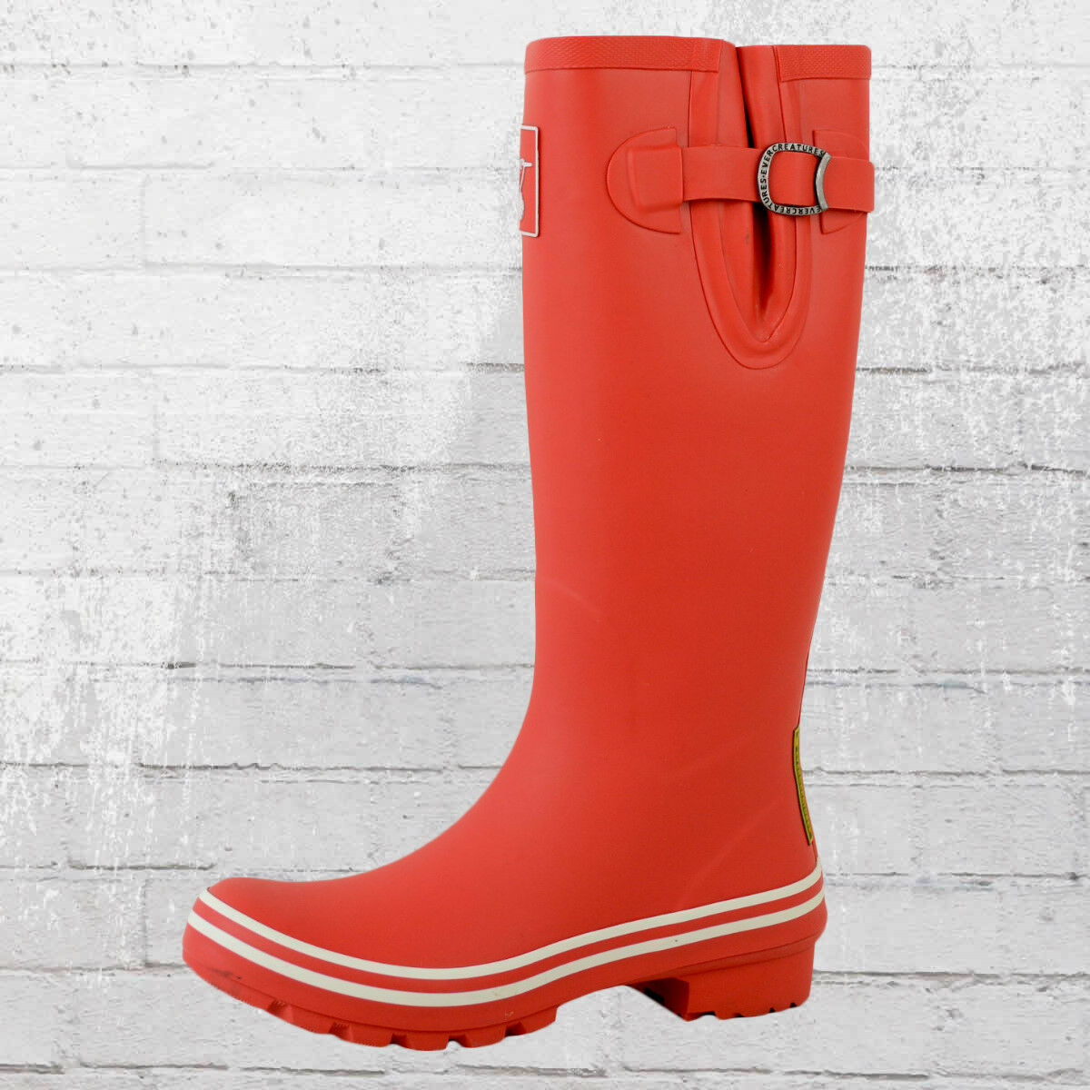 Evercreatures Donna Stivali di gomma Plain Red AND WHITE ROSSO BIANCO Wellies Wellington