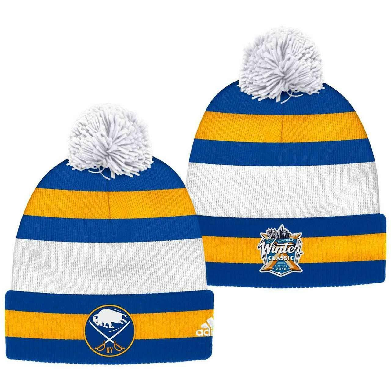 6df0bc6fb0f6c7 Buffalo Sabres adidas 2018 NHL Winter Classic Player Cuffed Pom Knit Hat  One Size for sale online | eBay