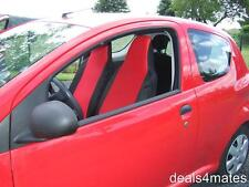 RED-BLACK FABRIC SEAT COVERS TAILORED FOR TOYOTA AYGO, CITROEN C1, PEUGEOT 107