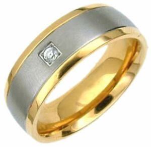 TITANIUM-Matte-RING-with-Gold-Plated-Edges-amp-Round-CZ-size-8-in-Gift-Box