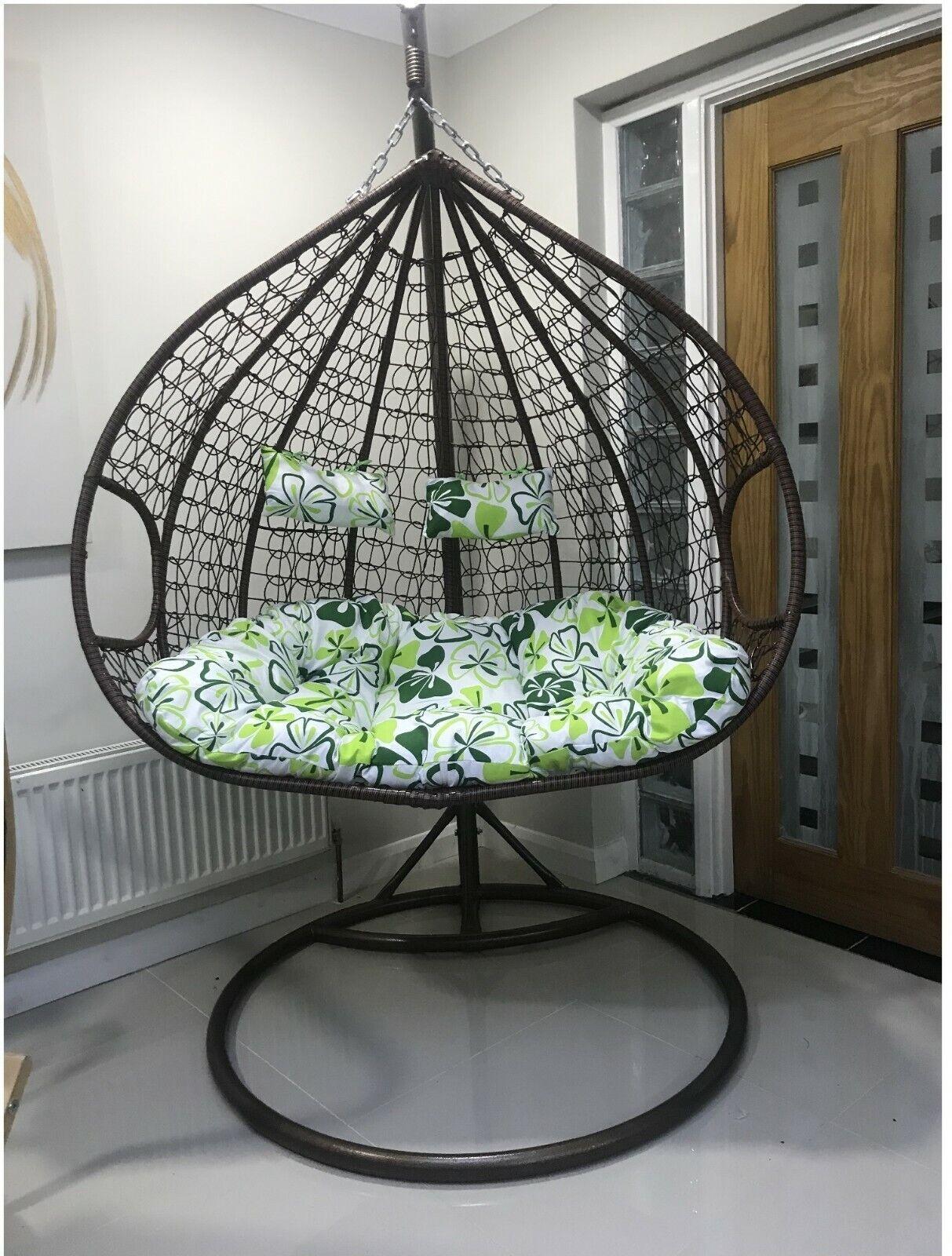 Charles Bentley Double Rattan Pod Chair Black Grey For Sale Ebay