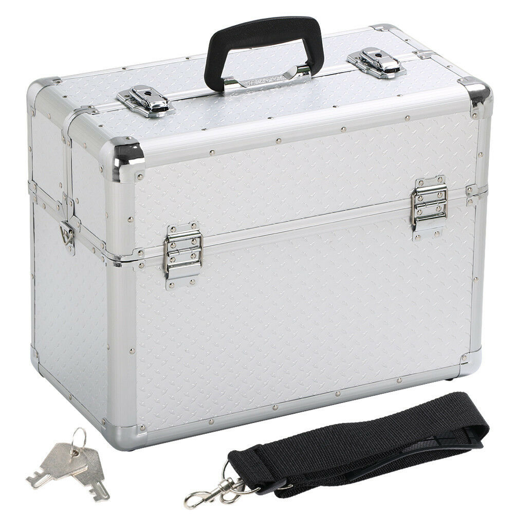 Alukoffer Werkzeugkoffer Werkzeugkasten Kosmetikoffer Alu Koffer + Tragegurt    Discount