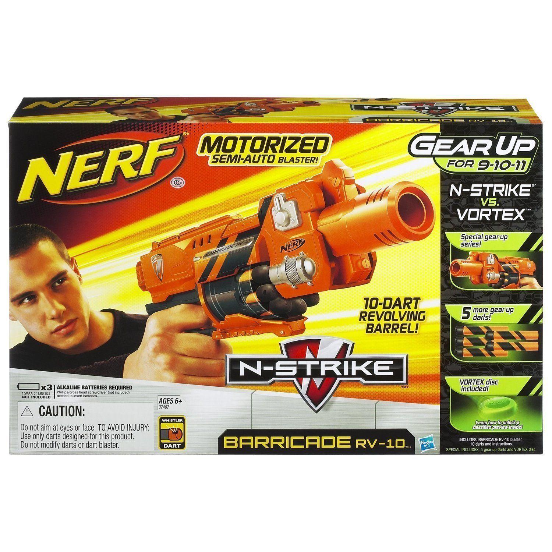 Nueva Marca Nerf N-strike Barricade RV-10 Dart Blaster Rare Gear Up