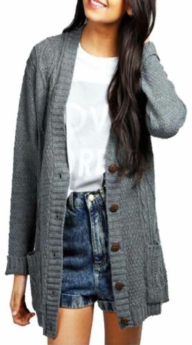 RRP £29.99 Cable Knit Chucky Cardigan in Grey