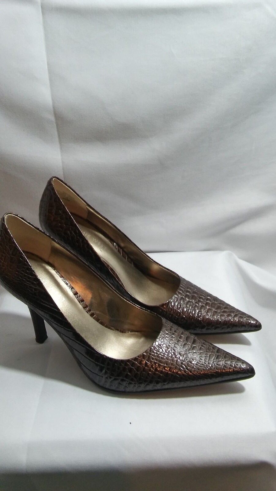 women on shoes Nine West brown leather slip on women heels size 6.5 M f2a05e