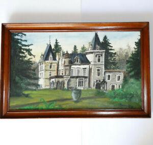 Chateau-Landschaft-Ol-auf-Leinwand-IN-Ein-Schoen-Rahmen-Antik-Unterzeichnet