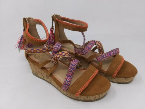 Brown I66 Girl/'s Youth SO Tightrope Wedge Sandal New!