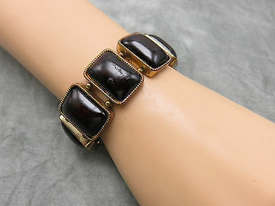 Vintage Statement Bracelet Brown Tortoise Lucite Stretchy Boho Jewelry 579f