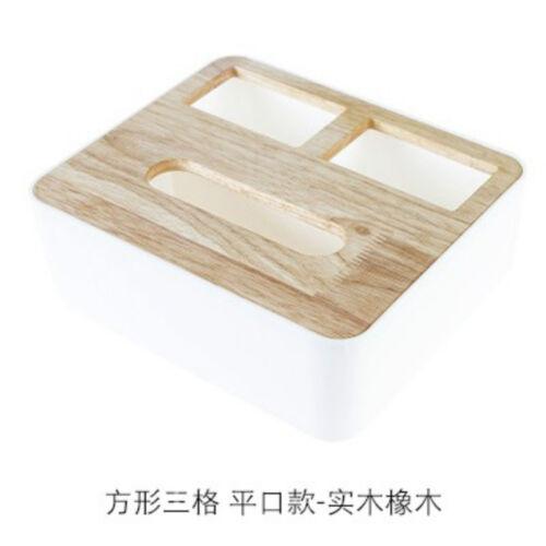 Wooden Cover Plastic Tissue Box Paper Home//Car Holder Dispenser Organizer Decor