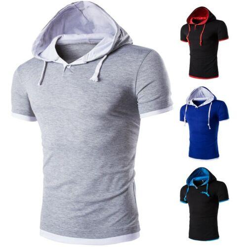 Men/'s Slim Fit Hooded Hoodies T-Shirt Tops Short sleeve Pullover Western style D