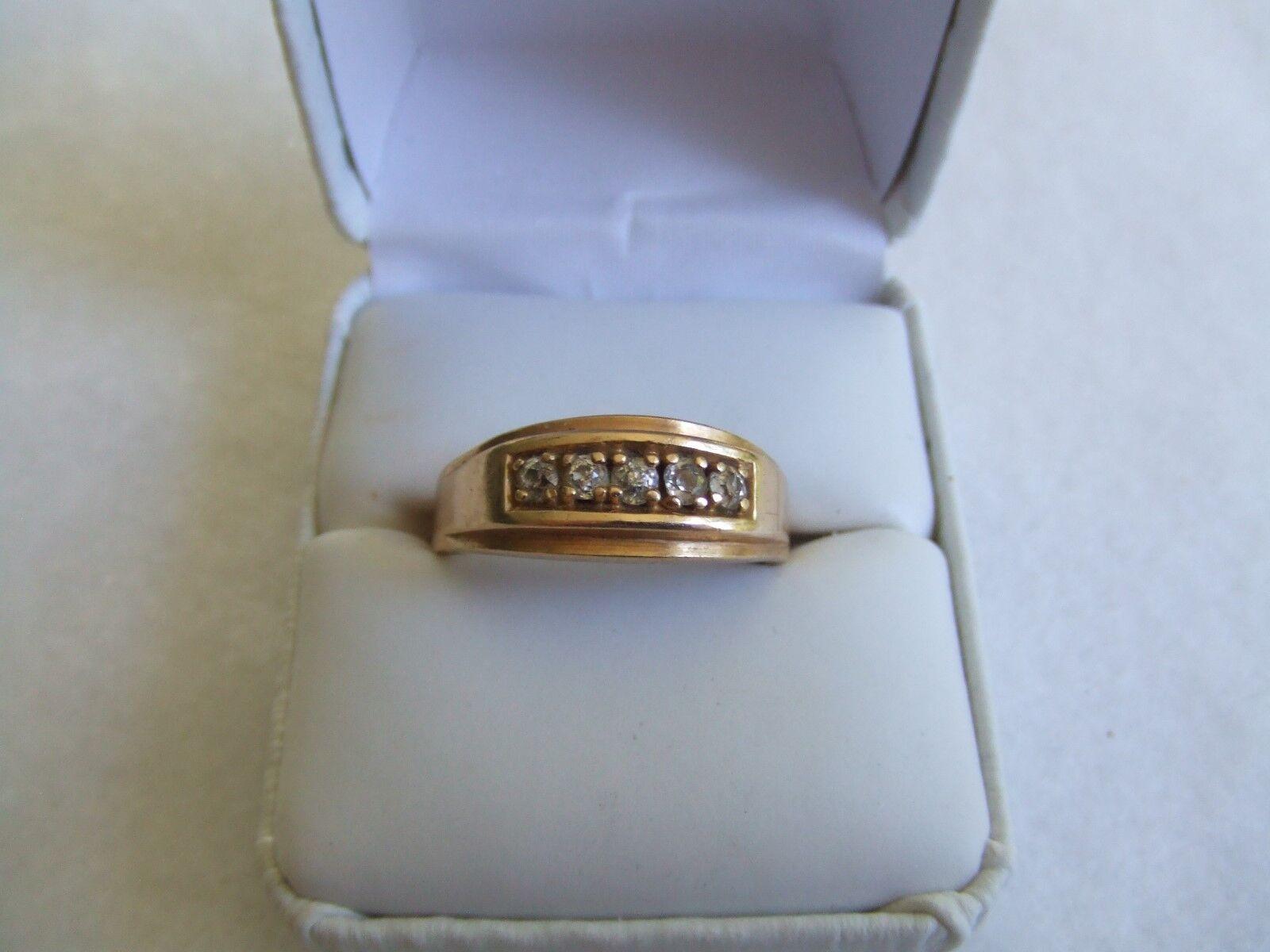Vintage estate mens 14k yellow gold diamond ring size 10