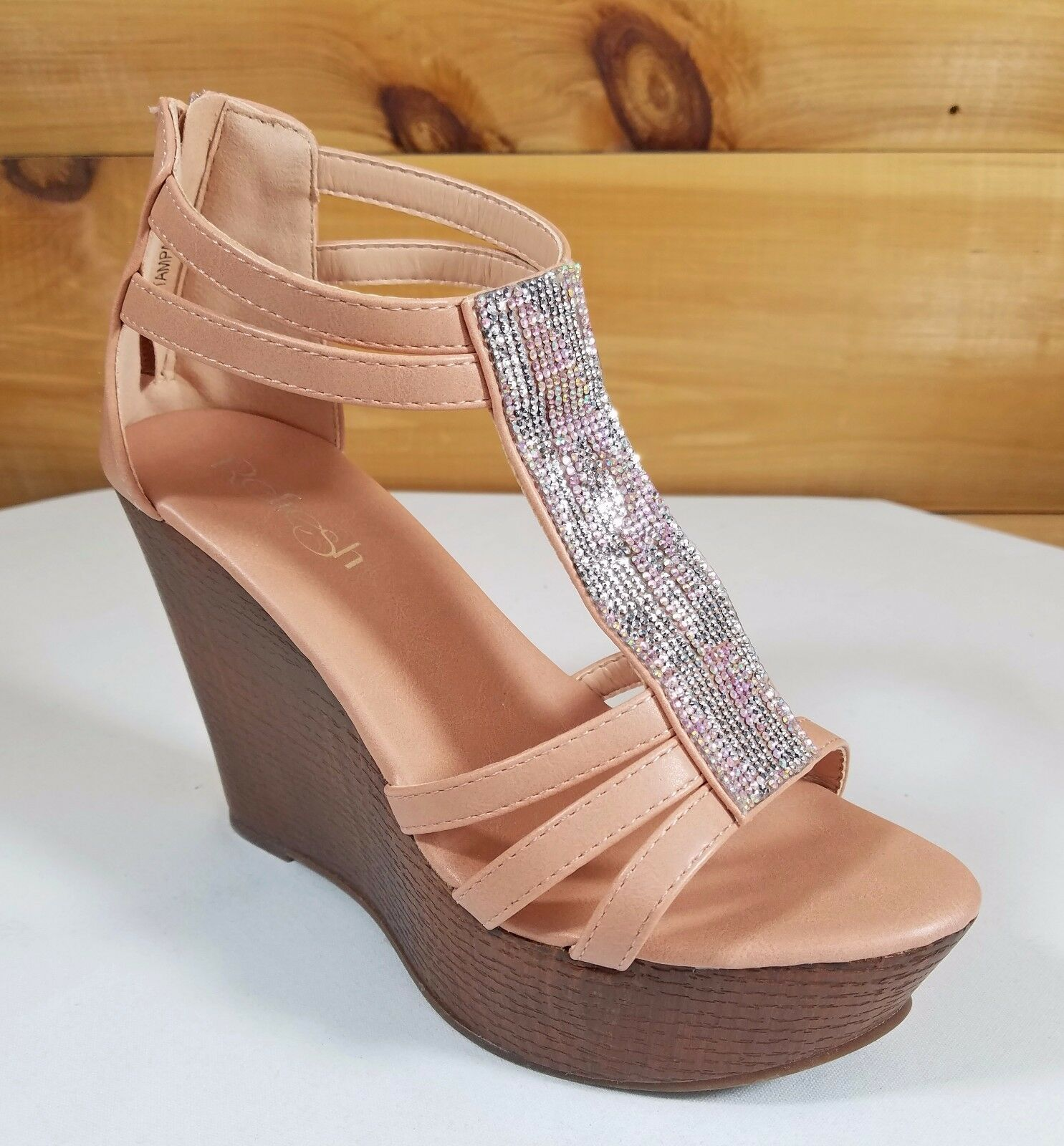 Refresh Blush FX Wood Shoes Sandals High Heel Wedge Shoes Wood 4.5