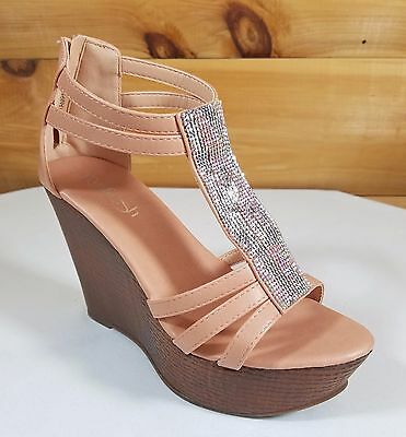 10fddb61b Refresh Blush FX Wood Sandals High Heel Wedge Shoes 4.5
