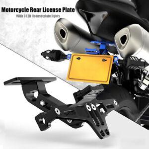 Motorrad-Universal-Kennzeichenhalter-Tail-Bracket-mit-LED-Licht-fuer-Honda-Yamaha