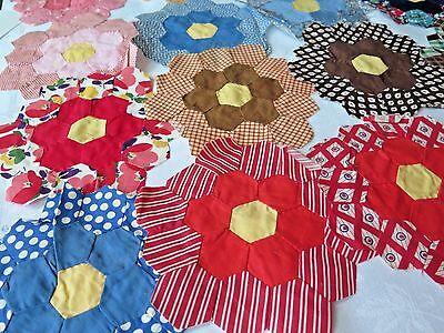 16 Vtg 1930s Colorful Grandmothers Flower Garden Feedsack Quilt Blocks Novelty B