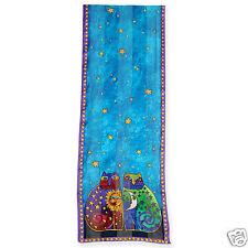Laurel Burch 100% Silk Oblong Silk Scarf Teal Blue Purple Celestial Cats New