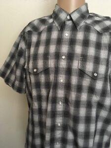 PENDLETON-PEARL-SNAP-WESTERN-PLAID-SHIRT-Black-Gray-White-Large-Pendleton