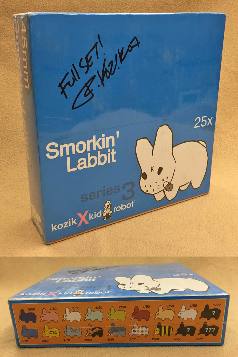 Frank Kozik SIGNED Kidrobot Smorkin Labbit Series 3 Complete Set AUTOGRAPHED