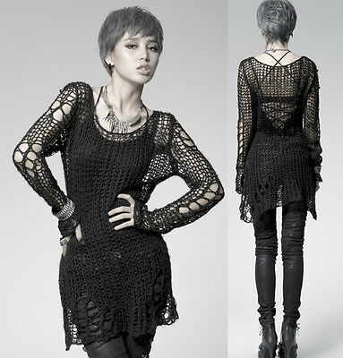 Punk Gothic SWEATER Visual Kei Cut Black Shirt Top PM004B TOP M Black Steampunk