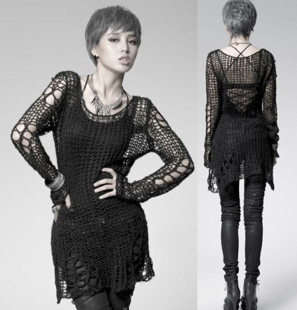 Punk Gothic SWEATER Visual Kei Cut Black Shirt Top PM004B TOP M Black Steampunk