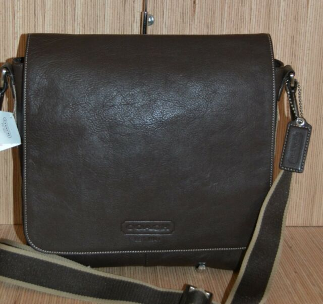 Coach F70555 Heritage Web Leahter Messenger Map Bag Brown New With Tag