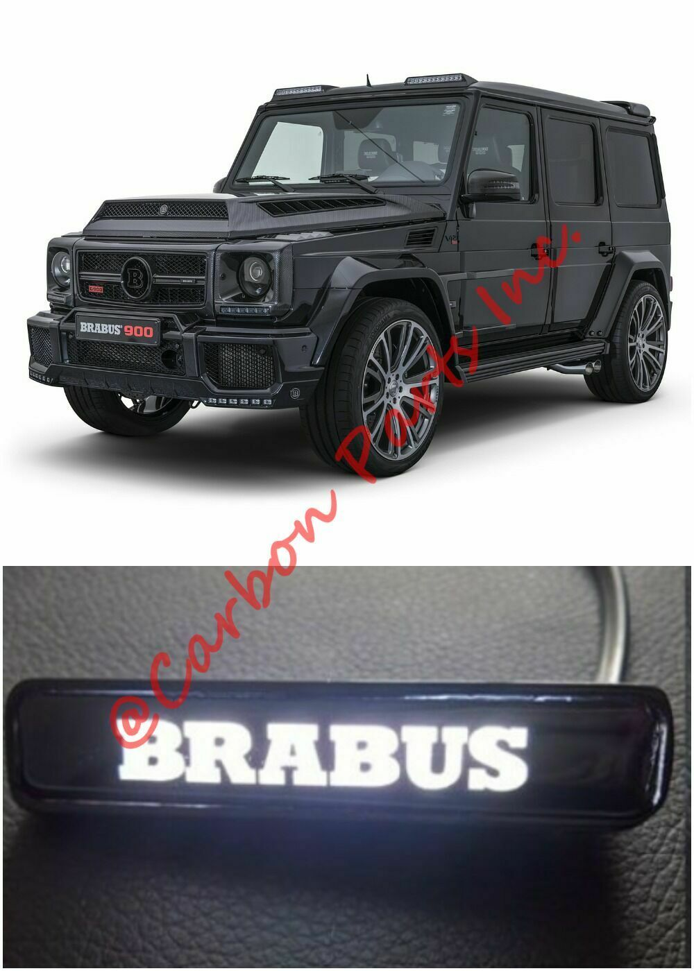 KimoO MB-11BS-BS Brabus-Style Grille Emblem Nameplate Badge for Mercedes Benz W463 G63