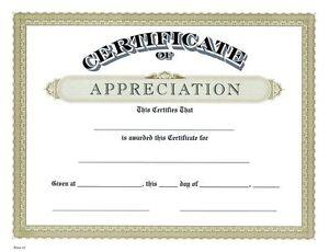 certificate of appreciation classic design gold border pack of 15