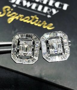 WOW-1-77TCW-F-VS-Diamonds-18k-White-Gold-Earrings-Stud-Emerald-Cut-Halo-Illusion