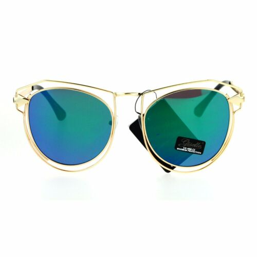 Womens Fashion Sunglasses Gold Metal Wired Double Frame Arrow Design UV 400