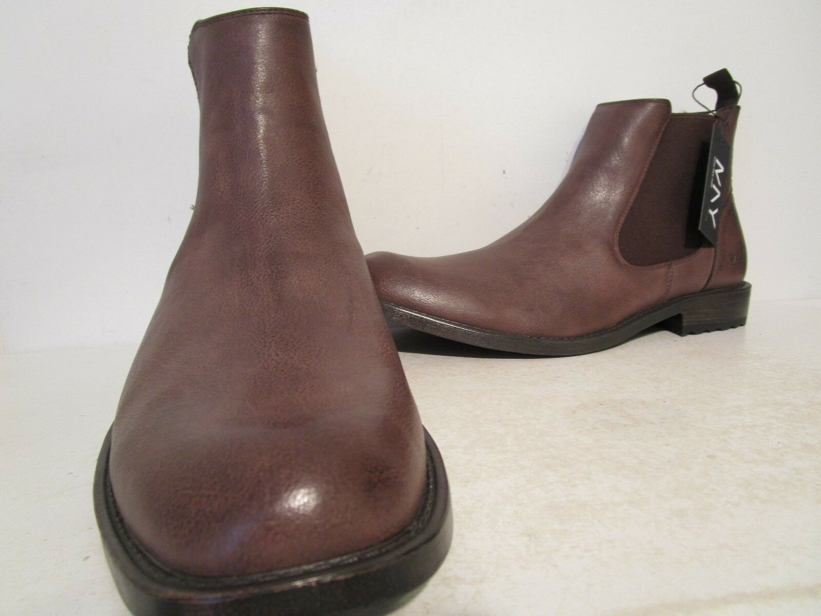 Andrew Marc Mens Parson Casual Pull On Chelsea Dress Boots Dark Brown Size 12 D