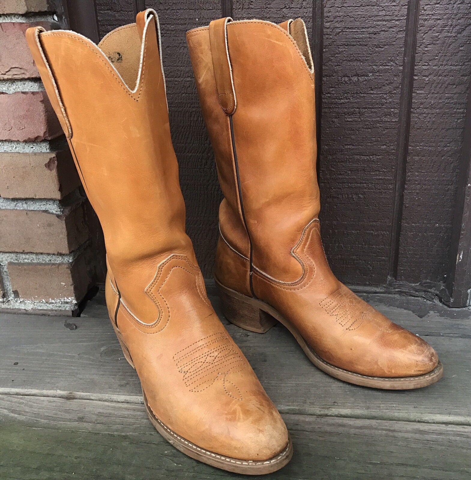 Vintage Unbranded Damenschuhe Größe 8.5 Honey Genuine Leder Western Cowboy Stiefel-363
