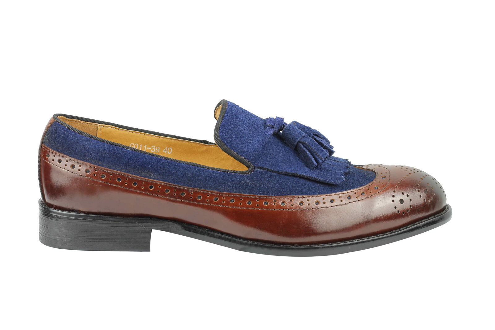 Mens 60s Vintage MOD 2 Tone Brown Blue Real Leather Suede Tassel Loafers Shoes