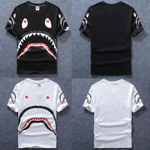 3652f0f264a Men s Black White Aape Bape Cotton Tee A Bathing Ape Shark Jaw Head ...