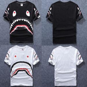 dd21f9f7a865 Men s Black White Aape Bape Cotton Tee A Bathing Ape Shark Jaw Head ...