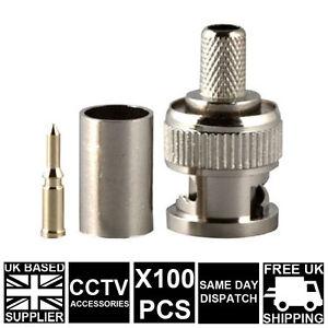 100x-3-PIECE-BNC-Male-CRIMP-CCTV-CAMERA-CONNECTOR-RG59-Coaxial-Connector-Adaptor