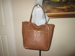 9da0b00ca Image is loading FOSSIL-Fiona-Tote-Brown-Leather-Shoulder-Bag-Fits-