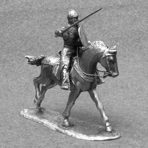 Horse Rider Medieval 1//32 Knight Crusader Cavalry Miniature Tin Soldier Toy 54mm