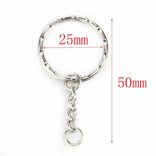 UK New Silver Key ring Blanks Tone Key chains Key Split Rings 4 Link Chain