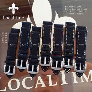 Localtime-Black-Canvas-amp-Leather-Liner-Watch-Strap-18-24mm-7-Stitching-Colours
