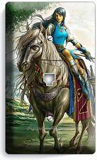 WARRIOR GIRL ON WILD HORSE PHONE JACK TELEPHONE WALL PLATE COVER GAMER ROOM ART