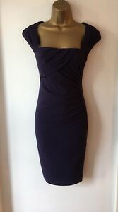 LK-BENNETT-PLUM-COLOUR-RUCHED-SIDE-CREPE-TINA-TAILORED-PENCIL-DRESS-SIZE-12